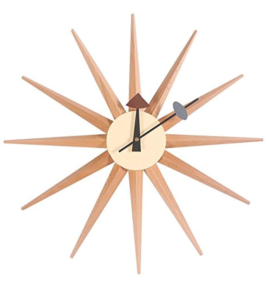 周術期縮約無礼にサンバーストクロック ナチュラル ジョージ ネルソン デザイナー壁時計