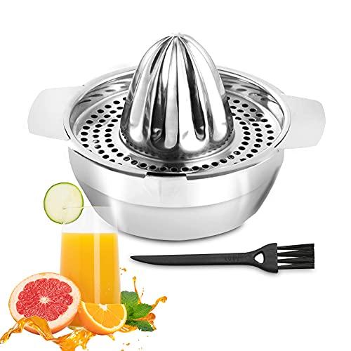 Zitruspresse Manueller Edelstahl mit Reinigungsbürste, Zitronenpresse mit Behälter 450ml, Limettenpresse Orangenpresse Profiqualität, Rostfreie Saftpresse für Zitronen Limetten Apfelsinnen Grapfruit