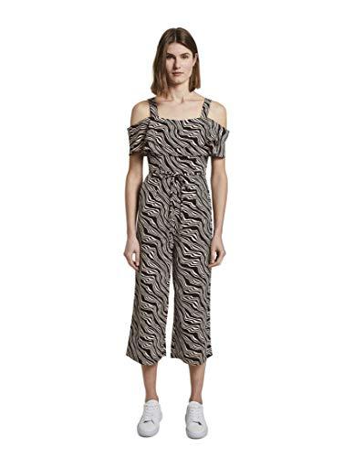 TOM TAILOR Damen Overalls & Jumpsuits Schulterfreier Carmen-Jumpsuit mit weitem Bein Black Wavy Design,40,23355,2999