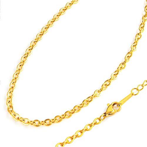 sc0025-25-gd70 ステンレス ネックレス チェーン あずき 金属アレルギー対策 ゴールド色 70cm 2.5mm幅