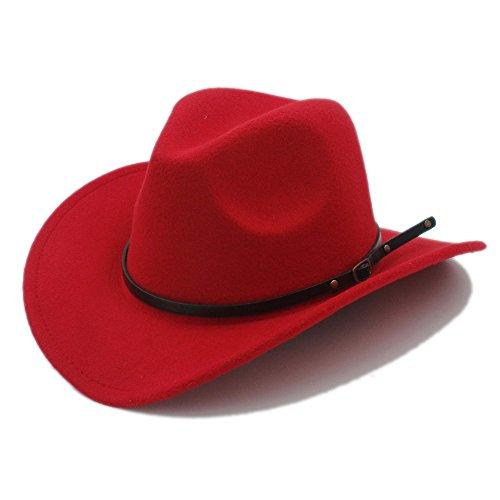 L.J.J Männer Western Cowboy Hut Für Gentleman Cowgirl Jazz Church Cap Mit Leder Toca Sombrero Cap Resistol Cowboy Hüte (Farbe : 2, Größe : 57-58CM)