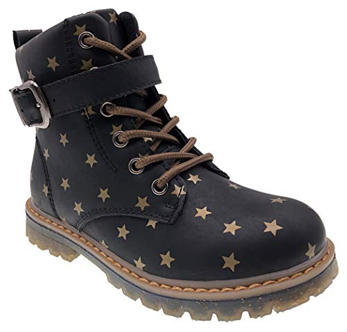 TZJS Kids Waterproof Star Boots for Girls, Boys Side Zipper Lace-up Outdoor Snow Boots for Little Kids Black