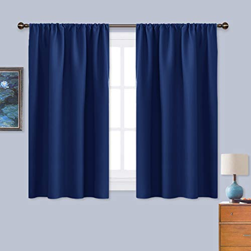 NICETOWN Navy Blue Curtains Blackout Draperies - Home Fashion Thermal Insulated Solid Drape Panels for Kid's Room, Privacy Window Dressing (1 Pair, 42 inches x 45-Inch)