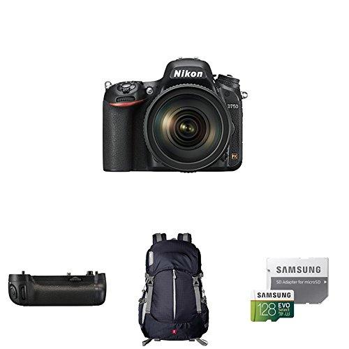 Nikon D750 FX-format Digital SLR Camera w/ 24-120mm Lens Deluxe Battery Grip Bundle