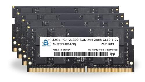 "Adamanta 128GB (4x32GB) Memory Upgrade for 2019 & 2020 Apple iMac 27"" (iMac 19,1 iMac 20,1 iMac 20,2) w/Retina 5K Display DDR4 2666MHz PC4-21300 SODIMM 2Rx8 CL19 1.2v DRAM RAM"