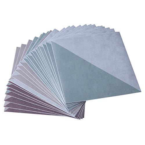 ENCOFT 24pcs Adhesivo para Azulejos en PVC, Pegatinas de Baldosas Autoadhesivo Resistentes al Agua, Pegatinas Adhesivo de Azulejo Cuadrado para Baño y Cocina, Estilo Triangular 20x20cm