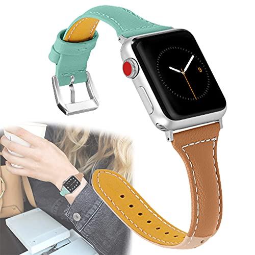 Compatible con Apple Watch 38 mm 40 mm 42 mm 44 mm, Cuero Tricolor Sport Special Mujer Hombre Correa de Repuesto Delgada para Apple Watch Series SE / 6/5/4/3/2/1,42mm/44mm