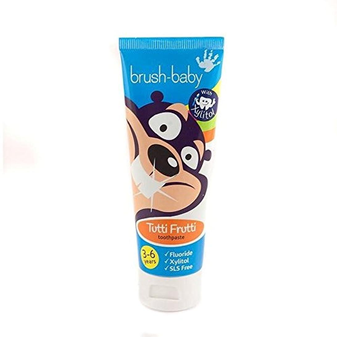 空中ソケットジョガーブラシ赤ちゃんのトゥッティフルッティの歯磨き粉3-6 75ミリリットル x2 - Brush Baby Tutti Frutti Toothpaste 3-6yrs 75ml (Pack of 2) [並行輸入品]