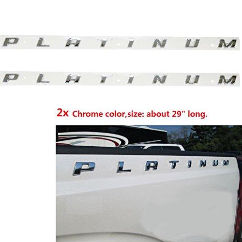 2pcs OEM Chrome Platinum Emblem Side Badge Nameplate 3D Replacement for F150 F250 F350 Platinum Glossy