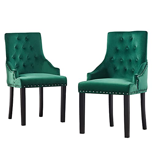HYRGLIZI Green Tufted Velvet Armchairs with Rivet Design, Wingback Upholstered Fabric Dressing Accent Chairs with Studded Ring for Dining Bedroom Living Room Side Chairs, Set of 2