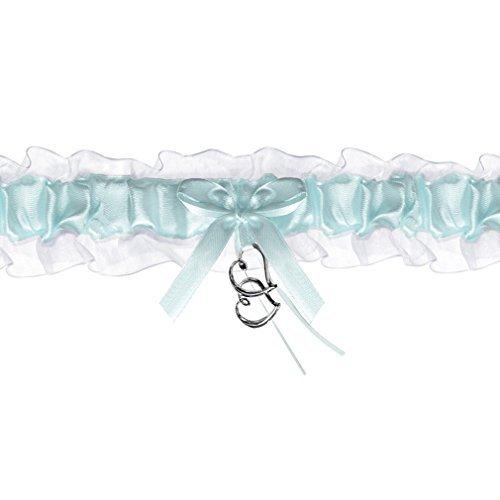 Braut-Strumpfband Chiffon-Strumpfband blau/weiß + Satinband mit Herzen Hochzeit Strumpf Band. Von Haus der Herzen ®
