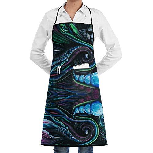 Lsjuee Delantal de Cocina con Babero Profesional Impermeable Ajustable de Leopardo Bolsillos Grandes y Delantal de Cocina para Hombres y Mujeres