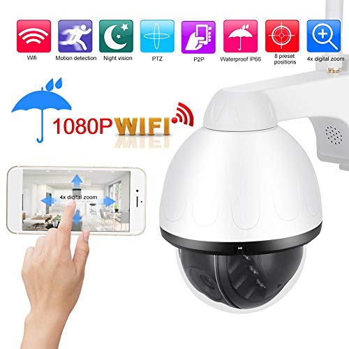 Outdoor PTZ-camera, WiFi PTZ 1080P HD IP Cam 4X Zoom Dome Camera/Outdoor Surveillance Cam met IR Nachtzicht + APP Control + IP66 Waterdicht(EU)