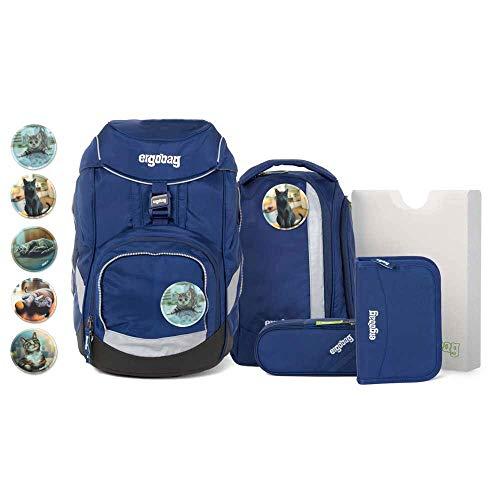 Ergobag Pack Schulranzen-Set 6tlg BlaulichtBär mit Wunschkletties (Katzen)