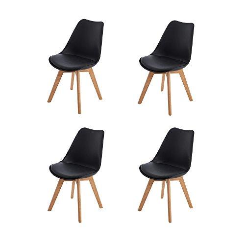H.J WeDoo 4er Set Esszimmerstühle mit Massivholz Eiche Bein, Küchen stühle mit Gepolsterter für ESS und Wohnzimmer - Schwarz