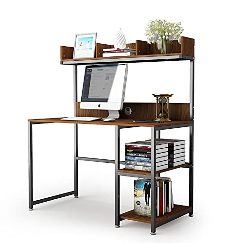 Computer Desk with Storage Shelves,47inch Monitor Stand Study Writing Desk with Hutch Adjustable Storage Bookshelf Table for Gaming PC Stand Desktop Home Office Workstation Space-Saving