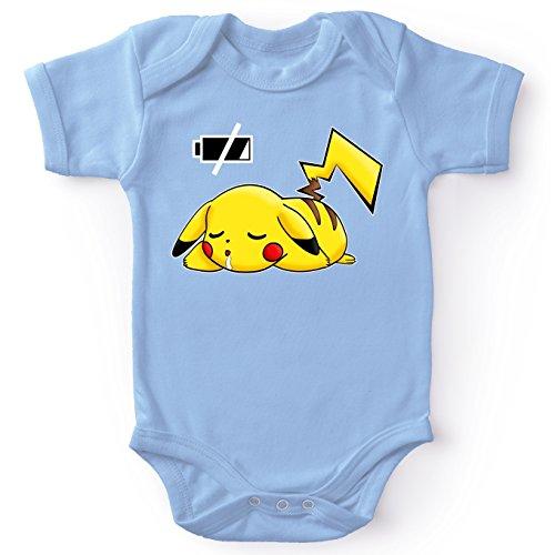 Okiwoki Body bébé Manches Courtes Garçon Bleu Parodie Pokémon - Pikachu - Batterie à Plat !(Body bébé de qualité supérieure de Taille 3 Mois - imprimé en France)