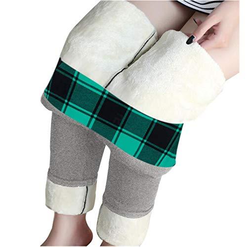 theshyer Leggings de Lana de Cordero de otoño e Invierno para Mujer Pantalones de Yoga de Cintura Alta Estampados Pantalones Largos Pantalones Calientes