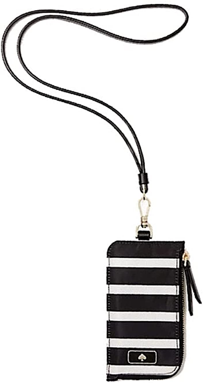 Financial sales sale Free shipping / New Kate Spade Dawn Sailing Stripe Card Lanyard Black Polyster White