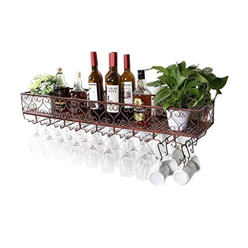 Giow Botellero | Loft Wall Shelf Estante de Techo de Hierro de Metal | Bastidores de Vino de Almacenamiento | Marco de Soporte para Botellas y Vasos de Vino Colgantes Soporte para Vasos de Vino B