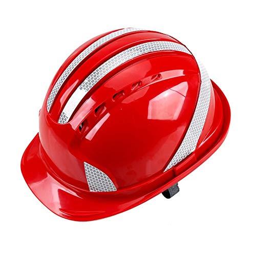 LIAN ABS Schutzhelm Reflektierende Streifen Helm Baustelle Anti-Smashing Hat ABS Breath Arbeiter Baustelle Hut (Color : Red)