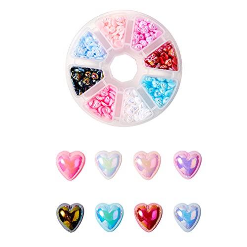 Ornaland 640 Uds, Cabujones Acrílicos de Corazón, Cuentas de Acrílico, Abalorios de Corazón, 8 Colores para Joyería DIY, Fabricación de Collar, Pulsera, Accesorios de Cuentas