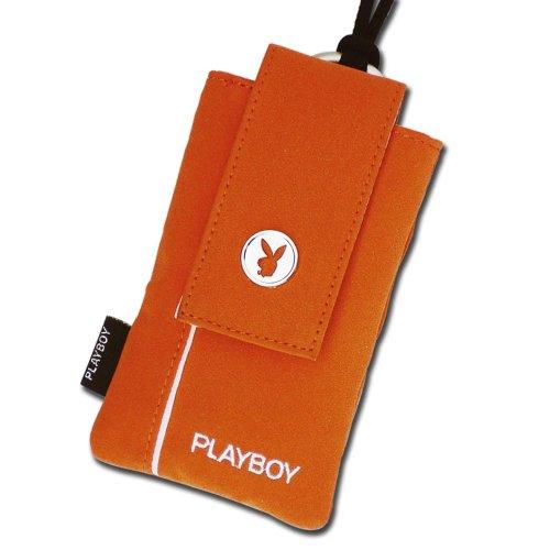Playboy Lizenzierte Orange Universal Lanyard Handy Tasche mit weißem Rand & Logo Reißverschluss Tasche in der Rückseite für extra Stauraum