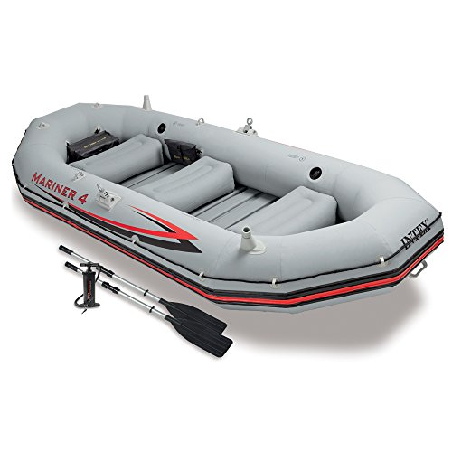 Intex Mariner 4, 4-Person Inflatable Boat Set with Aluminum Oars and High Output Air-Pump (Latest Model)