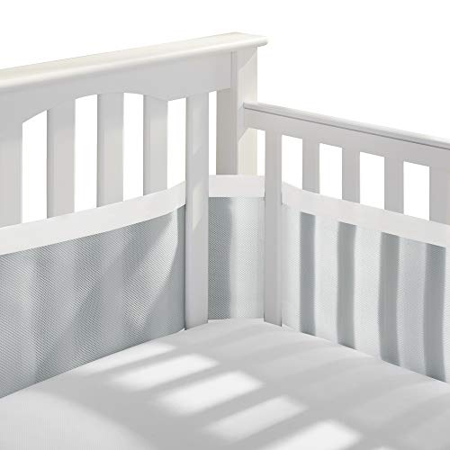 BreathableBaby Deluxe Patented, Safer for Baby, Anti-Bumper, Non-Padded, Breathable Mesh Crib Liner – Gray & White Muslin Trim