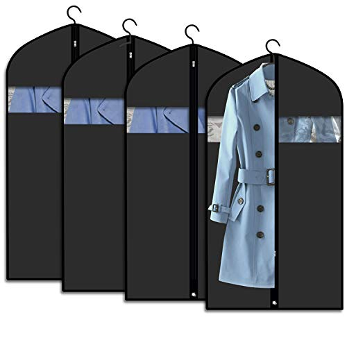 """Kntiwiwo Clear Garment Bag Suit Bags for Storage Set of 12 Hanging Dust-Proof Clothes Cover Bag with Zipper for Suit, Coat, Dress Closet Clothes Storage-24"""" x 40"""""""