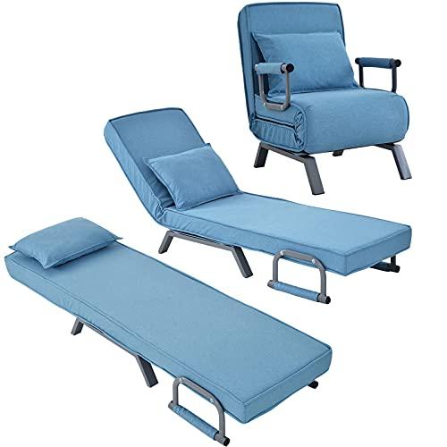 SUNWEII Sofá Cama 3 en 1, sofá Cama Plegable, Cama Plegable, Chaise Longue, sillón Plegable con Almohada, sofá Cama Plegable, sofá Cama con Respaldo Regulable en Altura,Blue-1PC