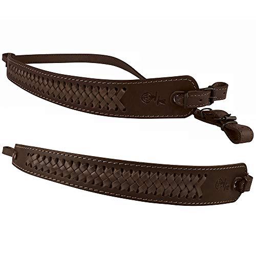 BRONZEDOG Genuine Leather Rifle Sling Braided Shotgun Strap Durable Hunting Shoulder Belt (Brown with Matching Braiding)