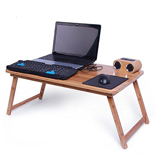 PENGFEI laptopbord lapdesk sängbord laptop dator stående bärbar ståstol lapdesk massivt trä multifunktion vikbar säng matbord bambu, träfärg 5 storlek (färg: 78 x 45 cm fixerade ben)