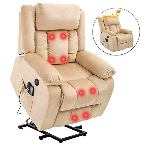Mecor Lift Chair for Elderly, Power Lift Recliner Chair,Bonded Leather Electric Lifting Chair with Remote Control/Cup Holders/Reinforced Heavy Duty Reclining Mechanism for Living Room (Black)