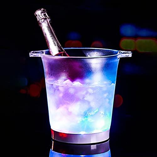 YLB Portaghiaccio A LED, Secchiello Ghiaccio per Vino di Grande capacità, Contenitori per Bevande con più Colori Che Cambiano per Feste/Casa/Bar, Portaghiaccio Champagne A Batteria,15,3 * 21,5 * 23