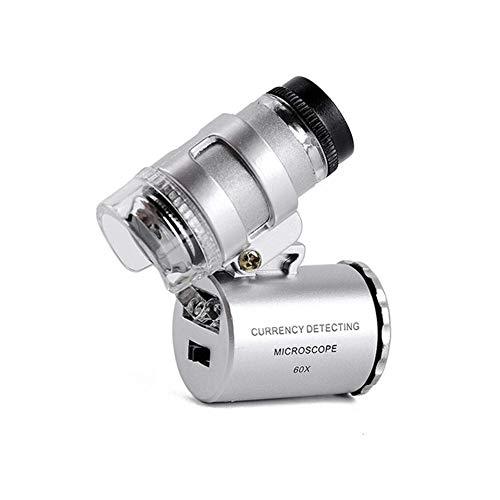 VKFX Lupa de Mano Microscopio de Bolsillo, aumento60x, Portátil Mini Microscopio,Monoculo con Luz Led y Lupa UV para Deteccion de Billetes Falsos,Filatelia,Joyas,Impreso,Tela Textil,Porcelana Antigua