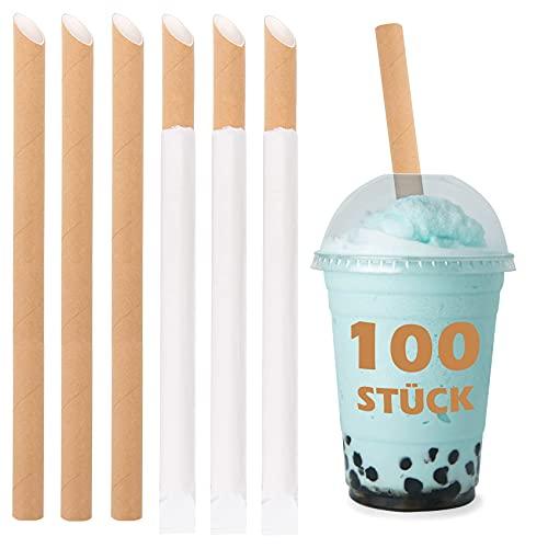 100 Stück Real Bubble Tea Strohhalme aus Papier - Boba Papier Strohhalme einzeln verpackt - Spitze Trinkhalme aus Kraftpapier - Einweg-Strohhalme - Biologisch Abbaubare