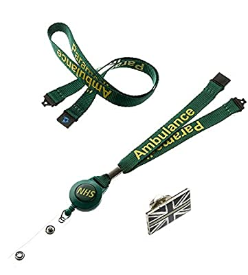 Green NHS Ambulance Paramedic Badge Reel Lanyard with Double Safety Breakaway & Thin Green Line Pin Badge from PAC SUPPLIES GLOBAL LTD