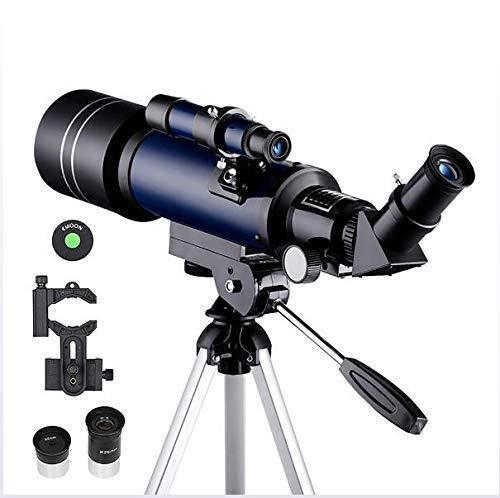 LFDHSF Telescopio, binoculares astronómicos Binoculares refractores de 70 mm Observación de la Luna para niños Adultos Astronomía Principiantes 16X 67X Lente con buscador Alcance