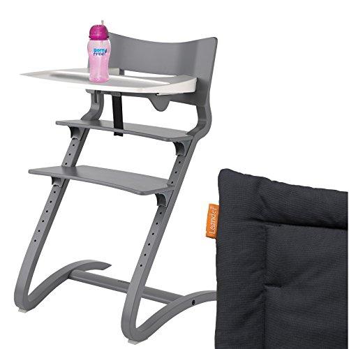 Leander Hochstuhl grau Komplettpaket mit Sicherheitsbügel, Tisch, BFree-Trinkbecher und Sitzkissen Coal