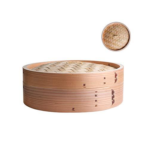 Vaporera de bambú con tapa, cestas de vapor orgánicas hechas a mano, juego de olla de jaula, perfecto para cocinar al vapor bollos de bollos de albóndigas de dim sum, verduras, pescado, arroz