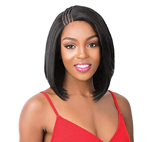 It's A Wig Synthetic Pre-Braided Side Part Lace Front Wig SWISS LACE T BRAIDED PART MALIBU (1B)