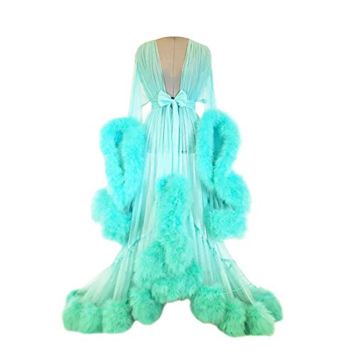 ZZYYLL Women Sexy Feather Nightgown Flared Sleeves Robes Mesh Sheer Lace Bridal Bathrobe Sleepwear with Belt,Light Green