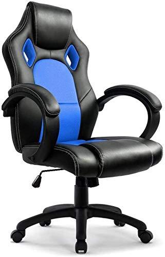 Intimes Herz bequem Rennen Stuhl Moderne ergonomische Büroleder PU mit hohen Rückendreh Sport-Schalensitze Sessel Spielen for PC Gamer PLAYER (rot) Farbe: Rot (Color : Bleu)
