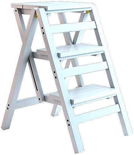 BBG 2 in 1 Leichtklapp Tragbarer Multifunctionalfolding Schritt Hocker, Stehleitern aus Holz-Dienstprogramm 3 Tier Holz Leiter Innen aufsteigende Treppen Stuhl Home Küche Badezimmer Bibliothek Maxima