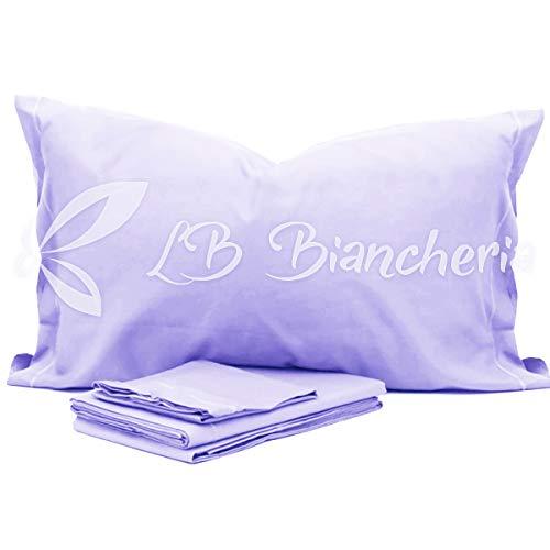 RP Juego de sábanas para Cuna Montessori de Color Liso para niña – 100% algodón Fabricado en Italia Lila