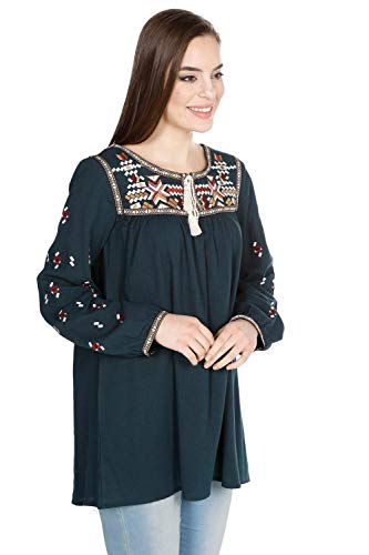 Women's Embroidered Petrol Blouse SIZE- M