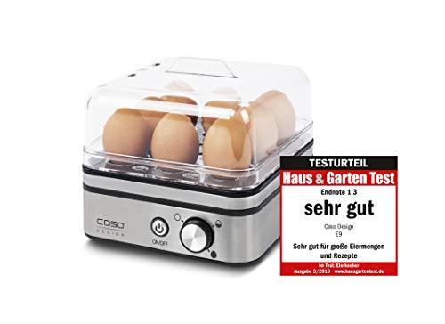 CASO E9 - Design Eierkocher für 8 Eier mit elektronischer Regelung, kein Trockenkochen, Edelstahldesign, inkl. Messbecher mit Eierpicker