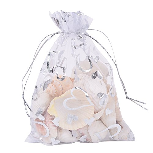 """PH PandaHall 100pcs 5x7"""" Heart Printed White Organza Bags Jewelry Pouch Bags Organza Drawstring Wedding Favors Bag for Wedding Favors Candy Gift Bags Valentine s Day"""