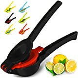 Top Rated Zulay Premium Quality Metal Lemon Lime Squeezer - Manual Citrus Press Juicer, 2 in 1 Midnight Black and Red